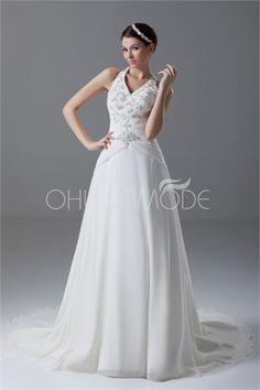 Robe de mariée A-ligne sexy V col en satin/mousseline de soie