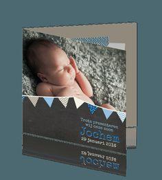 Geboortekaart voor jongen, vrolijke slingers, krijtbord en washi tape