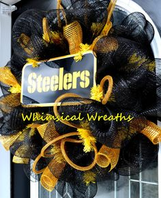 Steelers wreath mesh fall wreath by WhimsicalWreathsbyLS on Etsy, $70.00