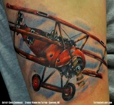 Fokker DR.I Triplane WWI Aircraft German Fighter Airplane Color Arm Tattoo - Chris Chubbuck - Tattoos In Flight Aviation, Airplane and Flying Tattoos.