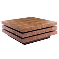 Triplo square swivel coffee table walnut