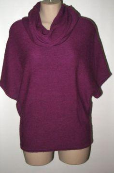 LAND'S END Dolman Sleeve Alpaca Cowlneck Sweater S  - Bright Eggplant Purple #LandsEnd #CowlNeck