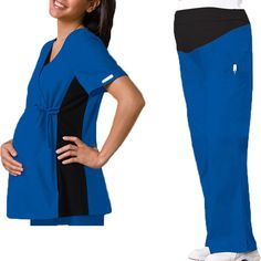 Flexibles by Cherokee Women's Maternity Mock Wrap With Stretch Side Panels #maternity #scrubs #nurse #doctor #hospitalstyle #medicalstyle