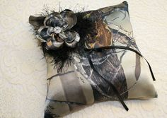 Camouflage Pillow with Large Petal Flower and Eyelash Camp Wedding, Our Wedding, Dream Wedding, Wedding Stuff, Wedding Country, Wedding 2017, Country Weddings, Wedding Ring, Real Tree Camouflage