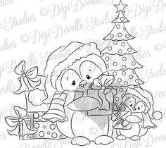 Christmas Wood, Christmas Cats, Handmade Christmas, Penguin Coloring Pages, Colouring Pages, Penguin Illustration, Homemade Face Paints, Creation Art, Christmas Drawing