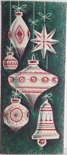 50s Mid Century Modern Tree Ornaments Vintage Christmas Card 708