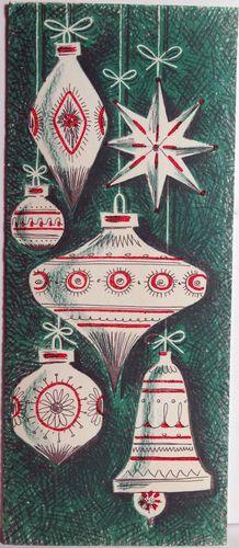 50s Mid Century Modern Tree Ornaments Vintage Christmas Card 708 | eBay