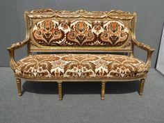 Antique French Provincial Rococo Louis XVI Gold Gilt SETTEE Sofa Burnt Orange…