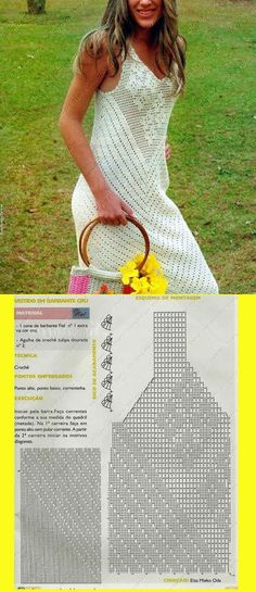 Crochet Patterns Dress Yummy and fresh! Instead of string as the recipe calls, do with a string of . Crochet Skirts, Crochet Tunic, Crochet Clothes, Crochet Bikini, Knit Crochet, Dress Patterns, Crochet Patterns, Moda Crochet, Crochet Wedding