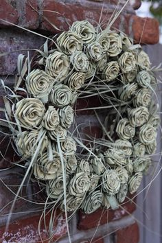 Charleston anyone? Can order at florist or Charleston Collections and Gifts Flax Flowers, Paper Flowers, Diy Wreath, Burlap Wreath, Flax Weaving, Palm Sunday, Natural Materials, Charleston, Floral Arrangements