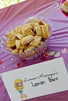Lemon Meringue's Lemon Bars- Strawberry Shortcake Birthday Party