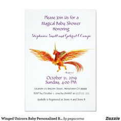 Shop Winged Unicorn Baby Personalized Rainbow Custom Invitation created by pegacorna. Custom Invitations, Baby Shower Invitations, Mermaid Fin, Graphic Design Company, Wooden Gift Boxes, Anime Wolf, Personalized Wedding Gifts, Recycled Art, Yule