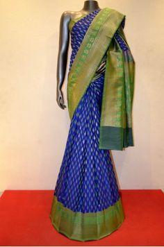Blue Grand Designer Hand Woven Banarasi Silk Saree Product Code: AC205389