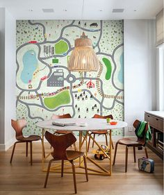 Children's Map of Little Town Wallpaper Pencil by DreamyWall