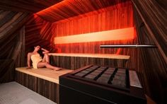 Traditional dry sauna with luxury veneer finishing, glowing LED backrest and geometric walls with Bluetooth surround system. Spa, Stairs, Wellness, House, Bespoke, Home Decor, Abstract, Fine Dining, Bathing