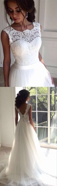 Simple A line V-back Tulle and Lace Wedding Dress