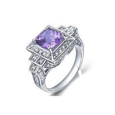 1.5 Carat Amethyst Gemstone Engagement Ring on Silver
