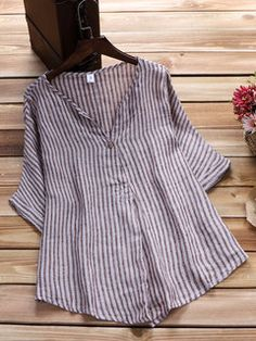 Women Loose Stripe Half Sleeve V-neck Irregular Hem Blouse Striped Linen, V Neck Blouse, Blouse Online, Blouse Styles, Half Sleeves, Chic Outfits, Latest Fashion Trends, Clothes For Women, Tunics
