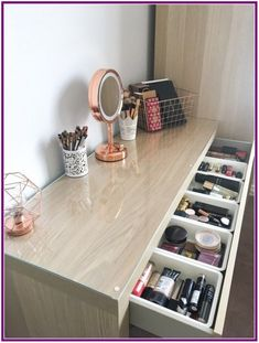 My makeup storage: Featuring the Ikea Malm dressing table - BeingChloe. How I organise my makeup collection. The ikea malm dresser makeup storage and organisation. The ikea malm drawer organiser with billigen drawer inserts. Ikea Malm Dressing Table, Dressing Tables, Dressing Table Storage, Ikea Dressing Room, Dressing Table Organisation, Dressing Table Decor, Bedroom Organisation, Makeup Dressing Table, How To Organise Dressing Table