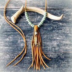 Feather Necklace Long Tassel Necklace Suede Leather Necklace - MINT - Boho Jewelry Tribal Jewelry Gypsy Jewelry Bohemian - Fringe Necklace
