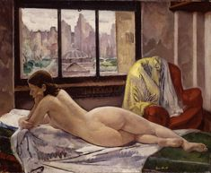 "books0977: "" Reclining Nude in Interior (1929). Leon Kroll (American, 1884-1974). Oil on canvas. Hirshhorn Museum and Sculpture Garden. Kroll was a student of Jean-Paul Laurens at the Académie Julian in Paris. There he was influenced by the..."