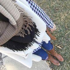 Color block fringe scarf $18 - winter outfit - www.csgemsjewelry.com