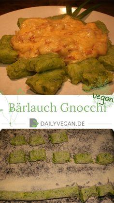 Veganes Rezept: Bärlauch Gnocchi mit Käse-Knoblauch-Schinken-Soße.