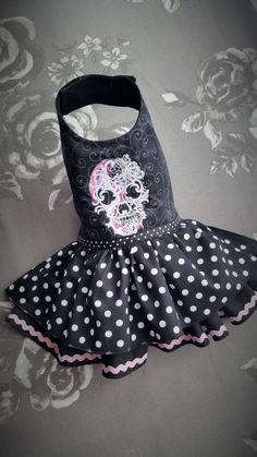 Dog Dress Chihuahua Coat puppy Goth style by TeddyFaceDogClothes
