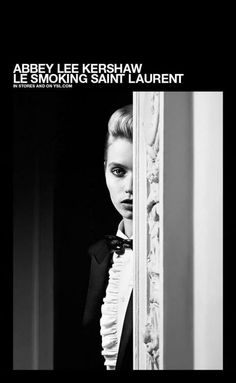 Abbey Lee Kershaw photographed by Hedi Slimane for Saint Laurent, 2014. #LeSmoking