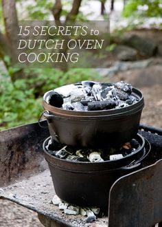Design Mom website shares fifteen secrets to dutch oven cooking. Dutch oven cooking is not just for outdoor cooking while camping, it can be used even in Fire Cooking, Cast Iron Cooking, Oven Cooking, Cooking Tips, Cooking Food, Cooking Photos, Cooking Websites, Cooking Bacon, Cooking Games