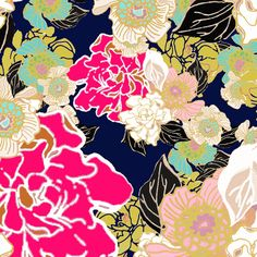 Jungle Passion Floral dark blue background fabric by joanmclemore on Spoonflower - custom fabric