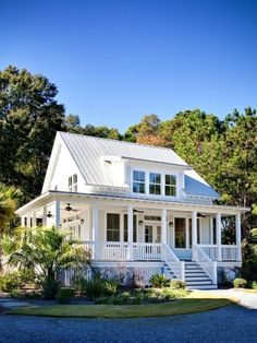 Little white house with porch and tin roof. My dream home in the country some day!
