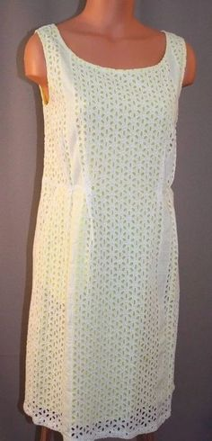 Size M White Eyelet Yellow Sleeveless Knee Length Straight Skirt Sheath Dress  | eBay