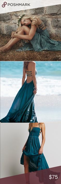 Free People Maxi Dress Blue-Green color, worn once, perfect condition Free People Dresses Maxi