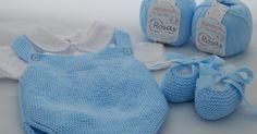 Hola a todos!    En la entrada de esta semana os traemos esta ranita de algodón con sus patucos a juego, para que empeceis a teje...
