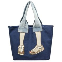 Funny Embroidery Canvas Tote Bag Blue ($29) ❤ liked on Polyvore featuring bags, handbags, tote bags, tote handbags, canvas purse, blue canvas tote, canvas totes and embroidered tote bags