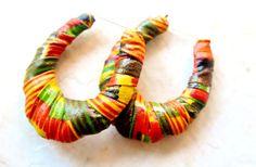 Kente Cloth Hoop Earrings Bamboo Hoops. Fabric by ZenCustomJewelry