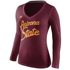 Arizona State Sun Devils Nike Women's Rewind Script Slim Fit Tri-Blend Long Sleeve T-Shirt – Maroon