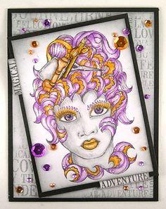 Card by Suzz Czosek using Darkroom Door 'Crafty Lady' Line Art Stamp & Journey Word Block Stamp.