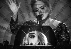 "Adele performing on a Devlin set. ""What I'm really designing are mental structures, as opposed to physical ones,"" Devlin says."