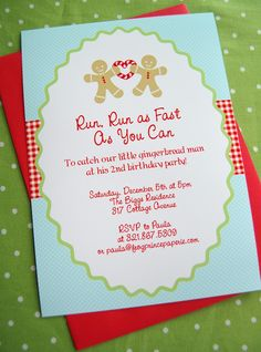 Gingerbread Birthday Invite- I would do this with older kids