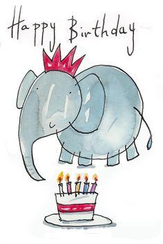 Happy birthday elephant and bday cake