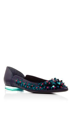 Dark Navy Lamb Skin Embroidered Flats by DELPOZO Now Available on Moda Operandi