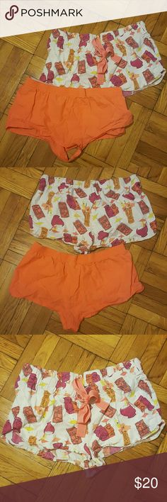 Bundle of 2 Sleep Shorts - VS & Old Navy This is a lot of two sleep shorts in a size small. The orange pair is from Victoria?s Secret and the tiki & cocktail pattern with drawstring is from Old Navy. No stains or tears.   Please see photos and ask any questions. No trades. No trades. No trades. No, I would not like to trade. Thanks. Victoria's Secret Intimates & Sleepwear Pajamas