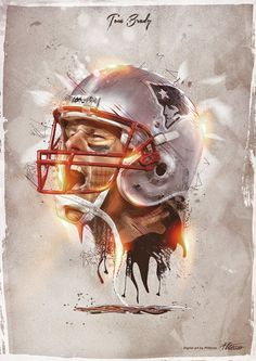 When Sport meets Art - Tom Brady Patriots Logo, New England Patriots Football, Patriots Fans, Football Art, Football Memes, Sports Art, Nfl Sports, Go Pats, Football Pictures