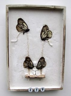 Whimsical Butterfly Mixed Media Assemblage Wall Art Plaque