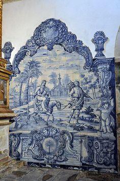 Ajulejos em São João de Tarouca Portugal | Portugal Cars | Portugal Car Hire | Car Rental | Lisbon | Faro | Porto - www.portugal-cars.com Tile Murals, Tile Art, Mosaic Art, Mosaic Tiles, Portuguese Culture, Portuguese Tiles, Tile Panels, Blue And White China, Iron Work