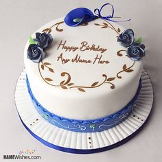 Write Your Friend Name On Violet Flowers Birthday Cake wishes