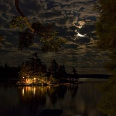 nighttime at the cottage on the lake island, Ontario (photo by Ryan Coleman) Beautiful World, Beautiful Places, Ontario Cottages, Theme Halloween, Cabins In The Woods, Pics Art, Plein Air, The Great Outdoors, Places To See
