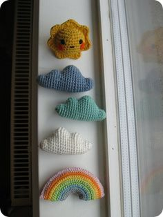 DIY crochet amigurumi mobile with sun, rainbow and clouds
